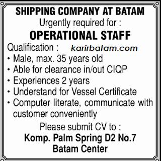 Lowongan Kerja Shipping Company Batam