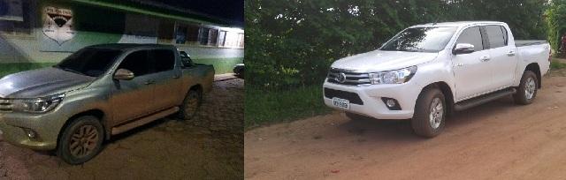 Polícia Militar recupera duas caminhonetes