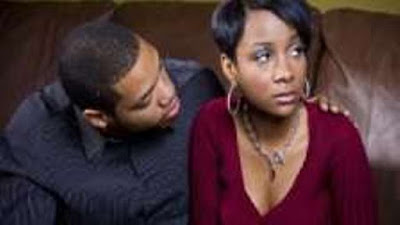unhappy black couple