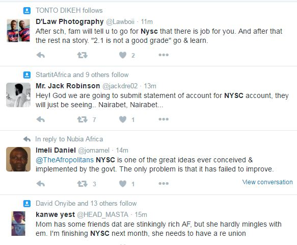 Hilarious Comments on Twitter about NYSC and Nepotism