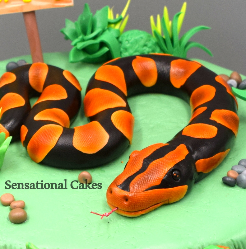 Brilliant The Sensational Cakes 3D Python Birthday Cake Will Surely Funny Birthday Cards Online Aboleapandamsfinfo