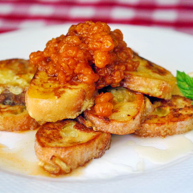 Lemon And Honey Dollar French Toasts with Warm Bakeapple Compote
