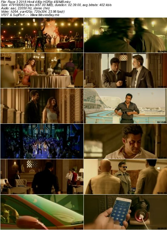 Race 3 2018 Hindi 480p HDRip 450MB worldfree4u