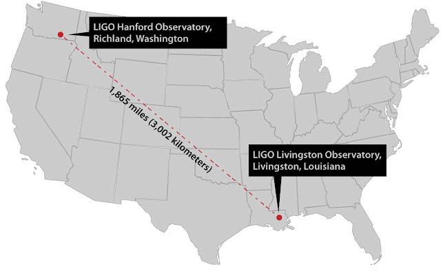 localização dos observatorios LIGO nos EUA