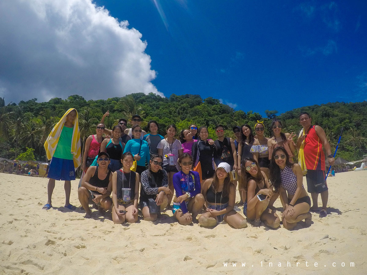Group shot at the Puka Beach, Boracay