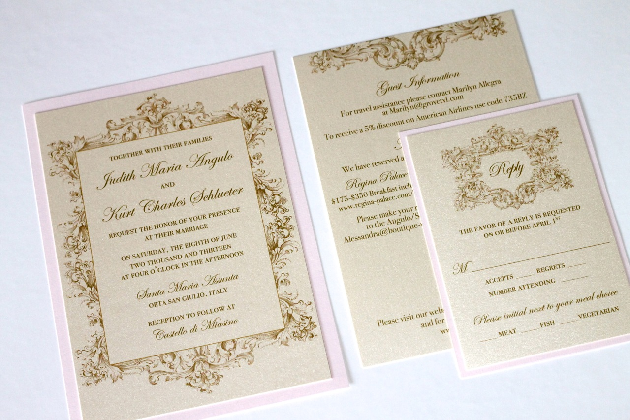 Vintage Wedding Invitations In Ivory Gold And Blush Pink