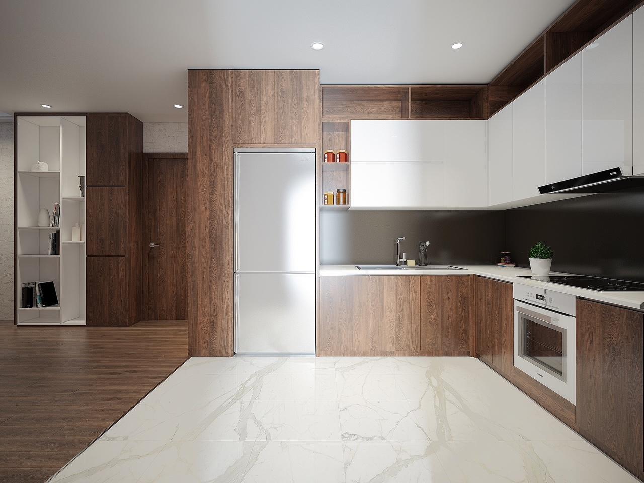 Thiết kế 3D Phòng Bếp căn hộ Chung Cư Rivera Park