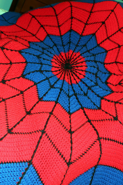 Kids Superhero Crochet Afghan - Spiderman Design