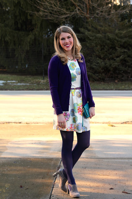 floral dress, purple tights, purple cardigan, cut out booties