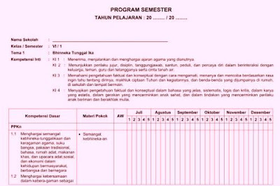 Program Semester (Promes) Kelas 6 Kurikulum 2013