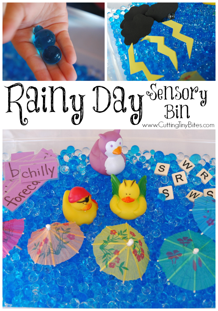 Rainy Day Sensory Bin, part of preschool weather theme