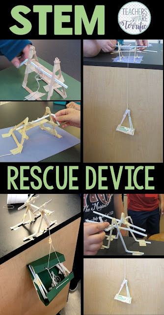 STEM Challenge: Students work in two teams to create a cranking device and a passenger carrier to perform a rescue. Each team builds part of the device and then the teams join together! The ultimate in teamwork!