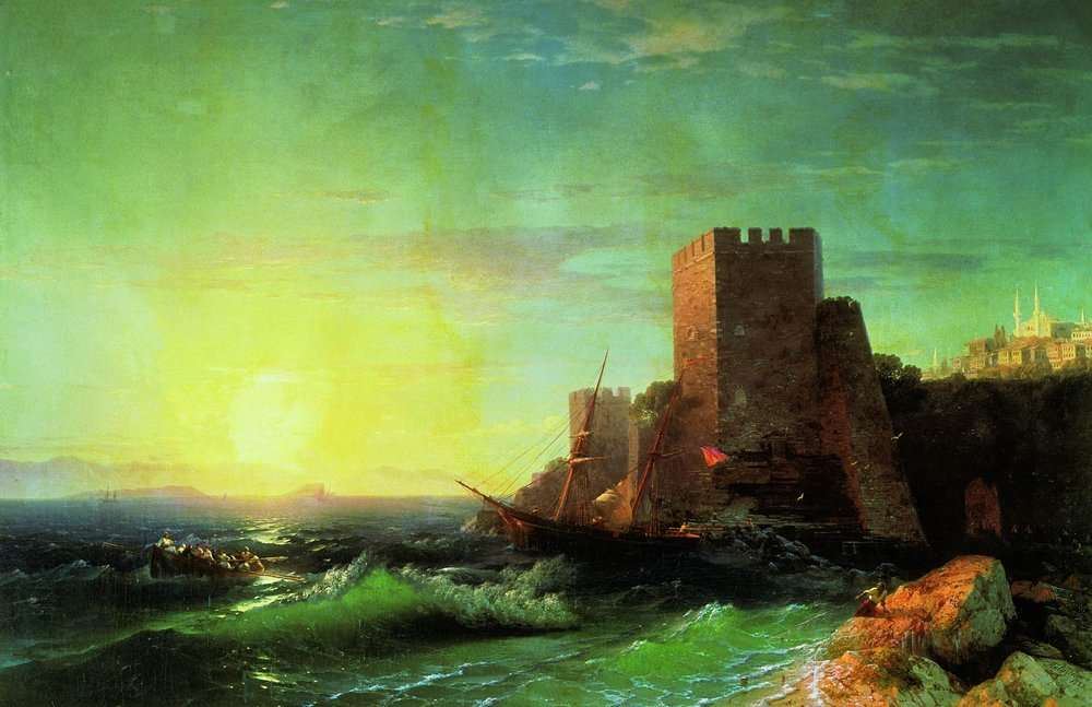 14-Towers-on-a-Rock-Bosphorus-1859-Ivan-K-Aivazovsky-Иван-К-Айвазовский-Paintings-of-the-Sea-from-1840-to-1900-www-designstack-co