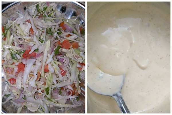Steps to make Pico de gallo/ cabbage slaw