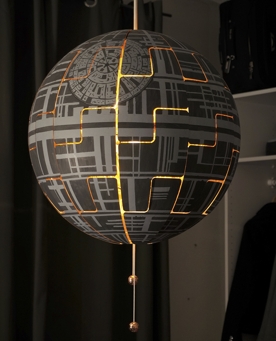 nag on the lake turn an ikea lamp into a death star. Black Bedroom Furniture Sets. Home Design Ideas