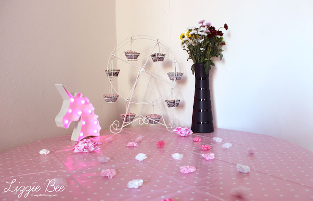 cute pink birthday decorations, unicorn