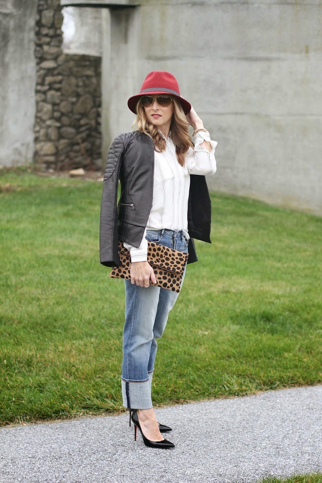 eugenia kim fedora, loft stripe tunic, halogen leather jacket, jcrew factory straight and narrow, clare v leopar clutch, ray ban aviators