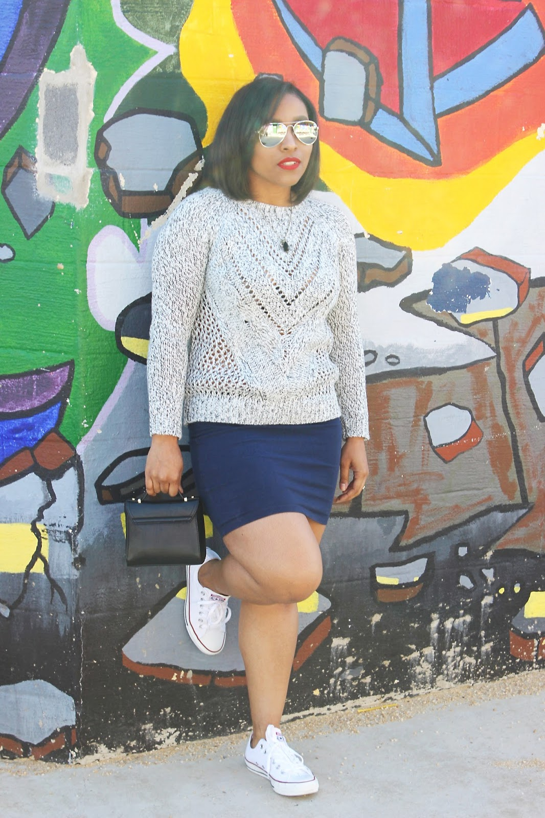 spring looks, chucks, skirt and sneakers, forever21 sweater