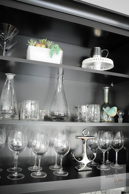 Coffee/Wine Bar top wine cupboard organized :: OrganizingMadeFun.com