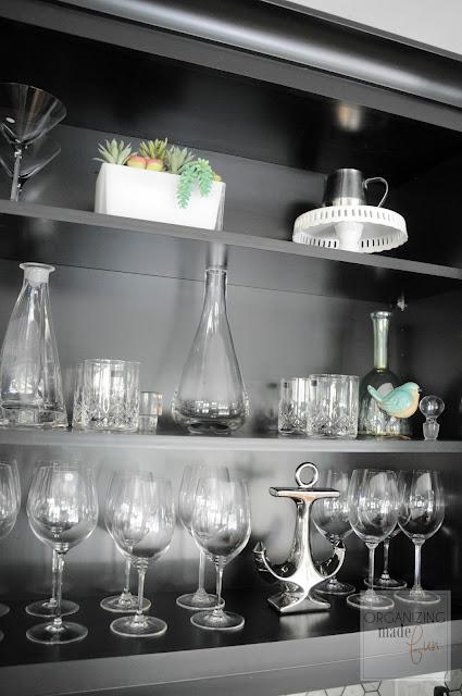 Coffee/Wine Bar top wine cupboard organized :: OrganizingMadeFun.com
