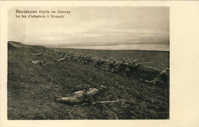 Serbian postcard - First Balkan War - Serbian infantry at the Bitola (Monastir) battlefield  Battle of Bitola (Battle of Monastir) - 16 to 19 November 1912