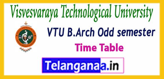 VTU Visvesvaraya Technological University B.Arch  1st 3rd 5th 7th semester Time Table 2017-18 Admit-Card