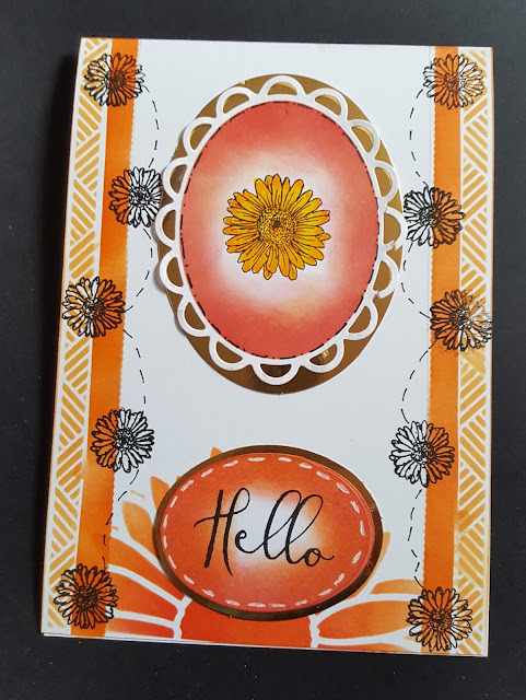 Hello - Daisy in a frame hand coloured 7x5in card