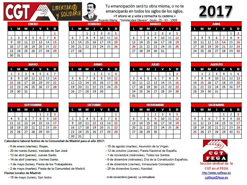 CALENDARIO LABORAL 2017 MADRID