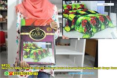 Sprei Zara Nikita King B2 180×200 2 Sarung Bantal 2 Sarung Guling Hijau Merah Bunga Dewasa Polyester