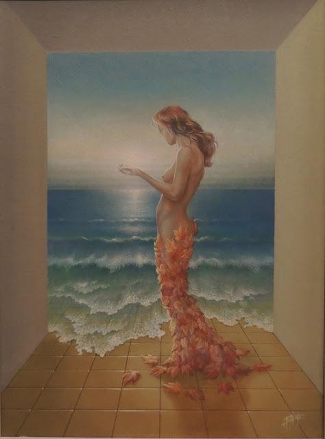 Enrique Nieto arte surrealista desnudo en la playa con flores
