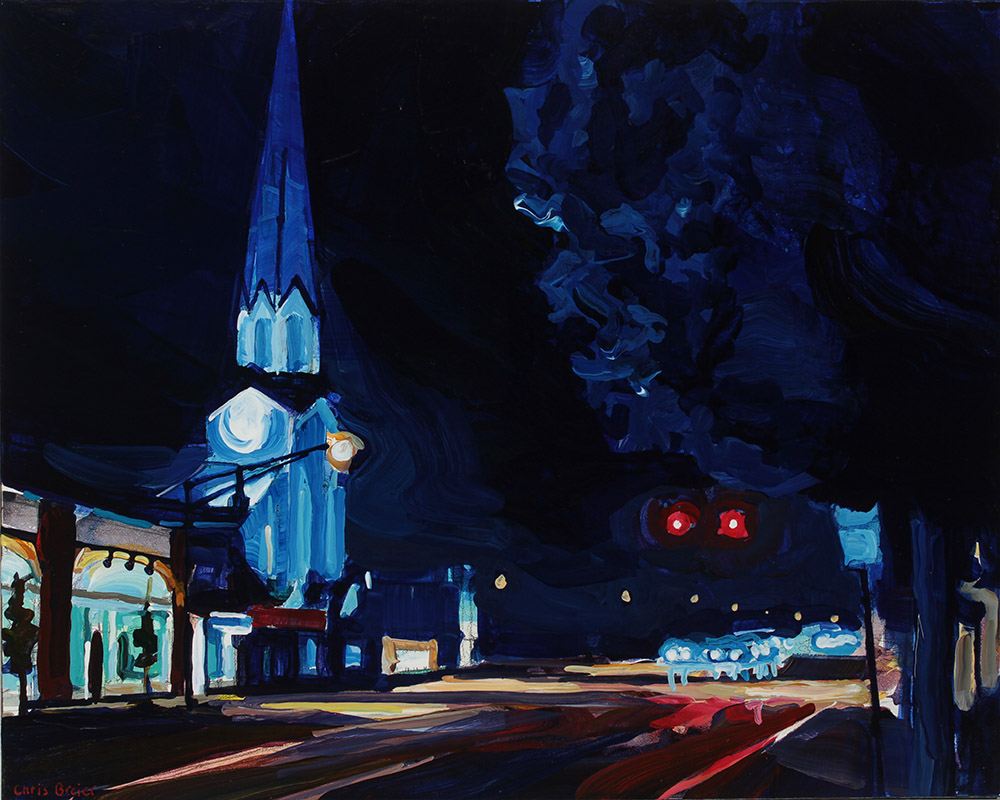 An acrylic painting of main street williamsville, ny at night