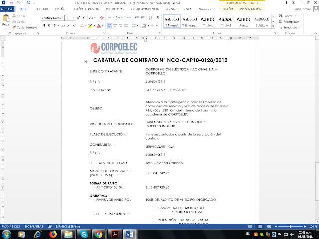 ¿Cuáles son las empresas asociadas a Argenis Chávez en los contratos con Corpoelec?