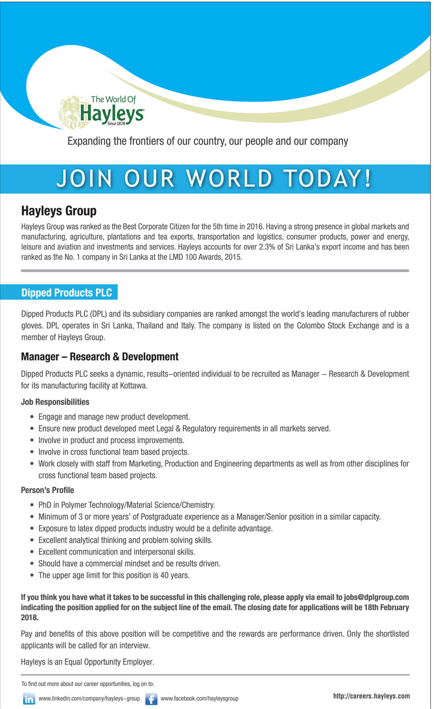 Manager - Research & Development