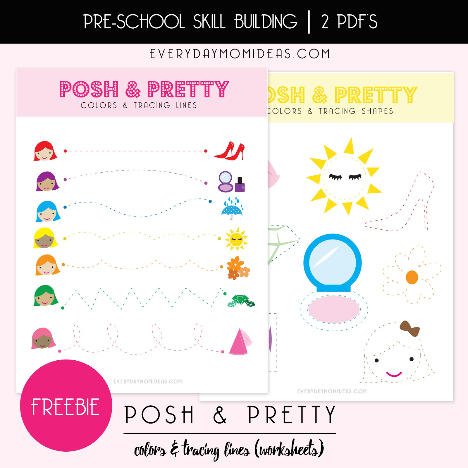 Posh Amp Pretty Learning Colors Amp Tracing Lines Free Printable