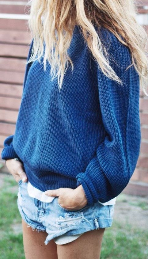 knit sweater and denim shorts
