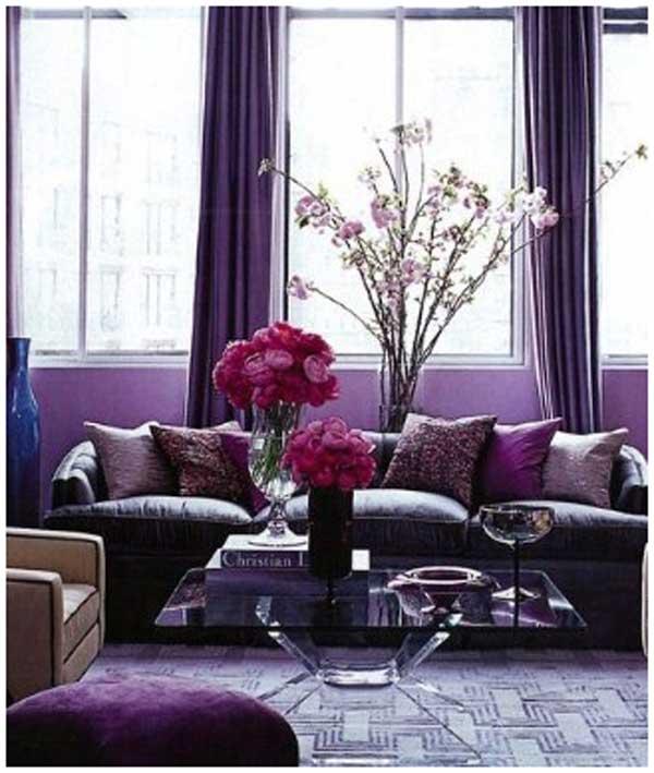 kombinasi warna cat ruang tamu ungu