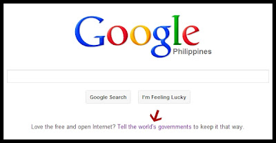 Google homepage free and open internet campaign