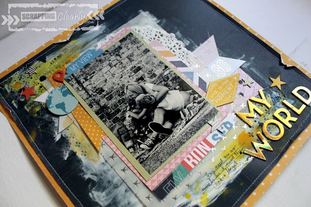 """My World""  layout by Bernii Miller for Scrapping Clearly using pink Paislee Atlas collection."