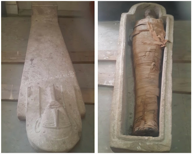 Sarcophagus with mummy uncovered in Egypt's Aswan