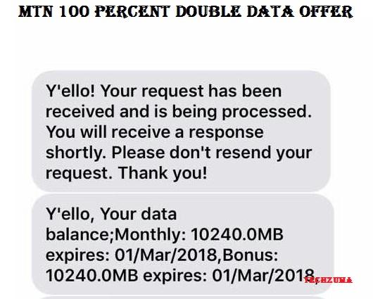 MTN 100 % Double Data Offer 2018