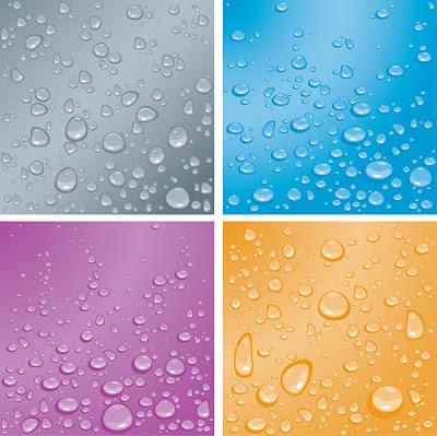 4 fondos vectores con gotas agua