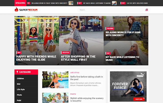 Supermedium Featured Random Responsive News Magazine Personal Blog Blogger Template Theme