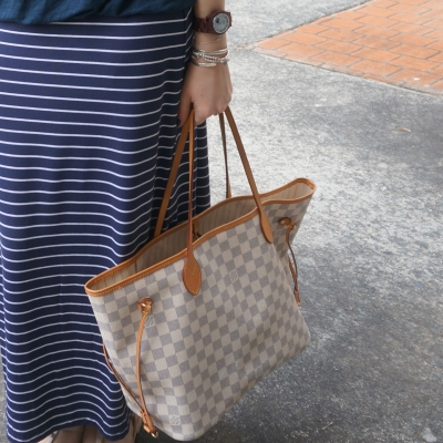 stripes and Louis Vuitton MM damier azur neverfull | AwayFromTheBlue