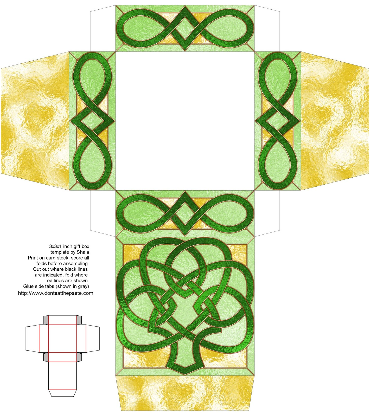 Stained glass knotwork shamrock box to print and make- blank version to color also available.
