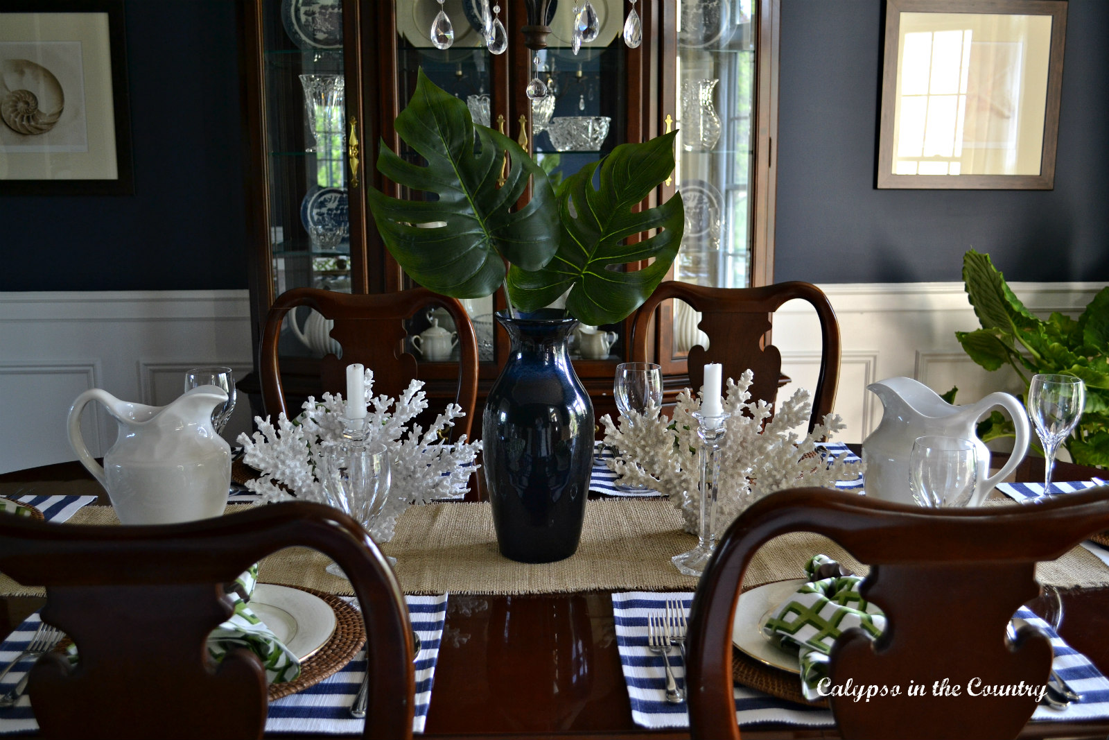 Tropical Traditional Navy Dining Room