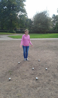 Emily and her winning end in our warm-up game at Woodstock Pétanque Club