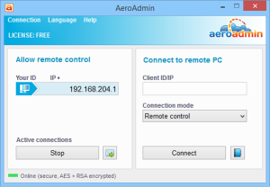 Aeroadmin remote desktop access