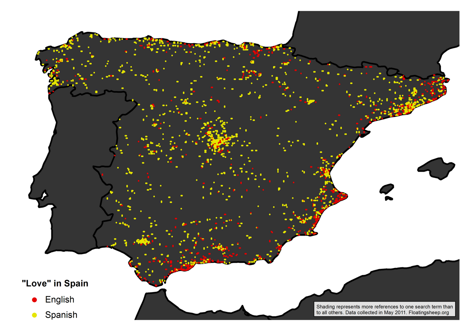 The Map Reveals That While The Spanish Term Is Much More Predominant Overall There Are C Ers Of Locations Along The Mediterranean Coast At Which There