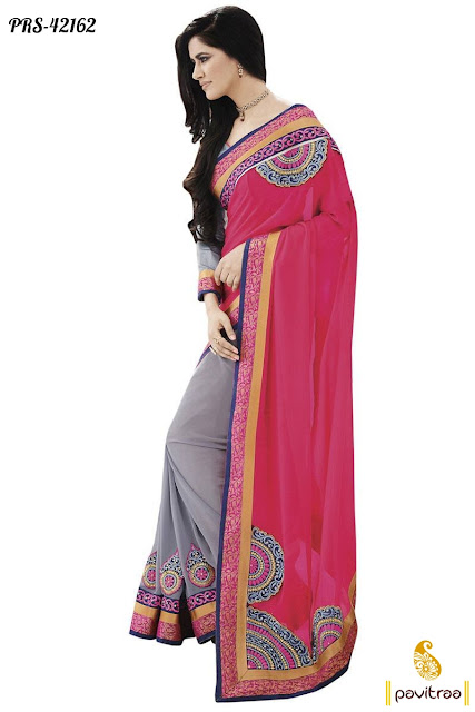 Pink Grey Party Wear Saree at Low Price