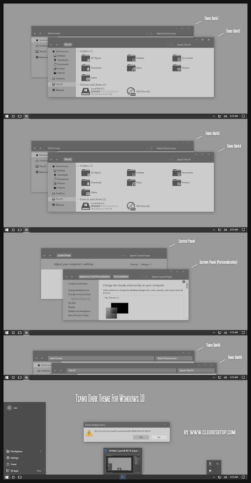 Tiano Dark Theme Windows10 May 2019 Update 1903